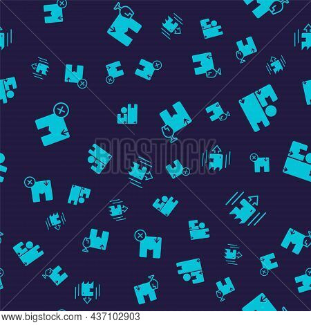 Set Carton Cardboard Box, Package With Fragile Content And On Seamless Pattern. Vector