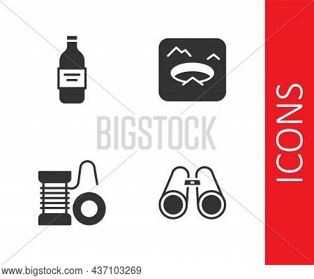 Set Binoculars, Bottle Of Vodka, Spinning Reel For Fishing And Winter Icon. Vector