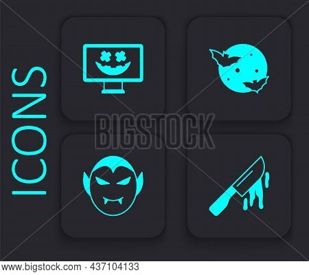 Set Bloody Knife, Happy Halloween Holiday, Moon And Stars And Vampire Icon. Black Square Button. Vec