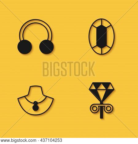 Set Piercing, Stud Earrings, Necklace On Mannequin And Gem Stone Icon With Long Shadow. Vector