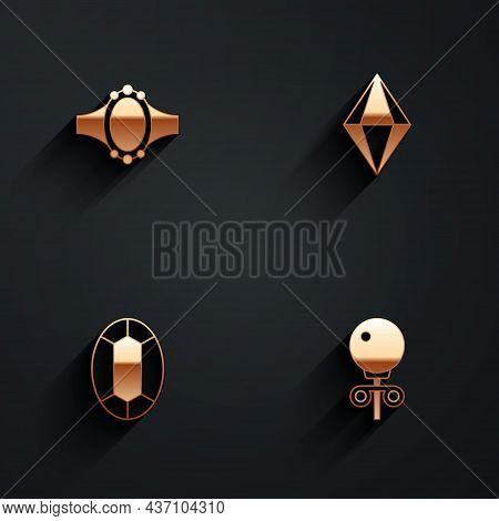 Set Diamond Engagement Ring, Gem Stone, And Stud Earrings Icon With Long Shadow. Vector