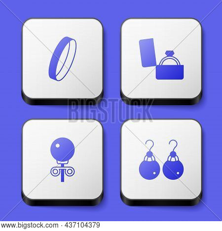 Set Wedding Ring, Diamond Engagement Box, Stud Earrings And Earrings Icon. White Square Button. Vect
