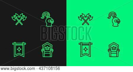 Set Line Medieval Throne, Flag, Crossed Medieval Axes And Helmet Icon. Vector
