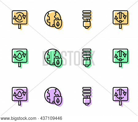 Set Line Led Light Bulb, Recycle Clean Aqua, Earth With Shield And Symbol Icon. Vector