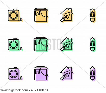 Set Line House With Trowel, Roulette Construction, Paint Bucket And Light Bulb Icon. Vector