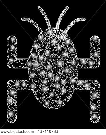 Constellation Wire Frame Bug Tick With Light Spots. Vector Frame Based On Bug Tick Icon, And With Cr