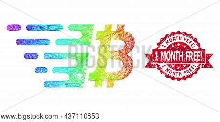 Spectrum Vibrant Net Bitcoin, And 1 Month Free Exclamation Grunge Ribbon Stamp Seal. Red Stamp Inclu
