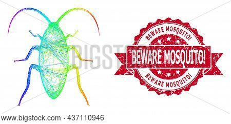 Rainbow Colorful Net Cockroach, And Beware Mosquito Exclamation Corroded Ribbon Seal Imitation. Red
