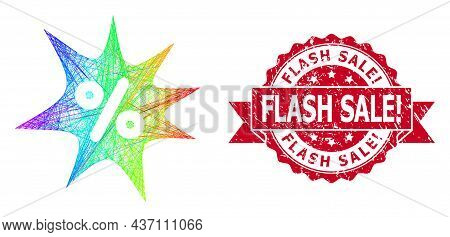 Rainbow Colorful Net Discount Boom, And Flash Sale Exclamation Rubber Ribbon Seal. Red Stamp Seal Co