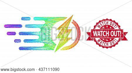 Bright Colorful Network Electric Spark, And Watch Out Exclamation Unclean Ribbon Stamp Seal. Red Sta