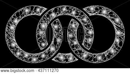 Illuminated Crossing Mesh Circle Chain Link With Light Spots. Vector Grid Created From Circle Chain