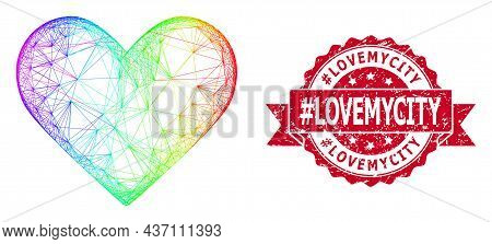 Bright Colorful Network Love Heart, And Tag Lovemycity Rubber Ribbon Stamp Seal. Red Stamp Seal Cont