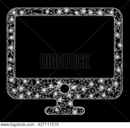 Constellation Wire Frame Computer Display With Glowing Spots. Vector Carcass Created From Computer D