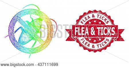 Spectrum Vibrant Wire Frame Stop Cockroach, And Flea And Ticks Unclean Ribbon Stamp Seal. Red Stamp