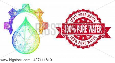 Bright Vibrant Wire Frame Water Supply Service Gear, And 100  Percent Pure Water Dirty Ribbon Stamp
