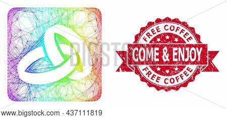 Rainbow Vibrant Wire Frame Wedding Rings, And Free Coffee Come And Enjoy Rubber Ribbon Stamp Seal. R