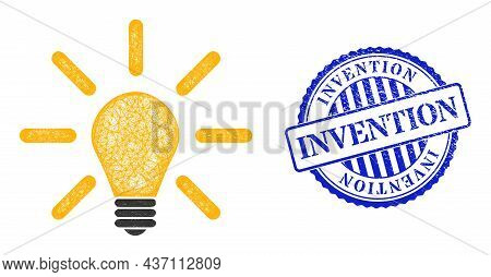 Vector Net Light Bulb Framework, And Invention Blue Rosette Unclean Watermark. Hatched Carcass Net I