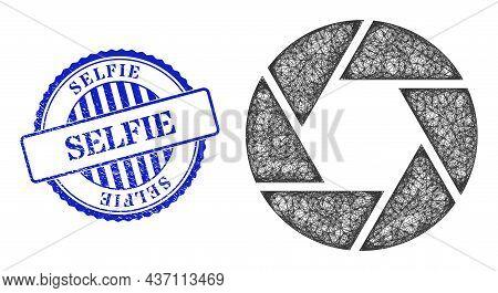 Vector Net Shutter Frame, And Selfie Blue Rosette Scratched Stamp. Crossed Frame Net Illustration Cr