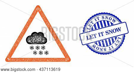 Vector Crossing Mesh Snow Weather Warning Model, And Let It Snow Blue Rosette Rubber Stamp Seal. Hat