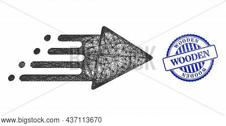 Vector Crossing Mesh Speed Process Frame, And Wooden Blue Rosette Dirty Seal. Wire Carcass Net Illus