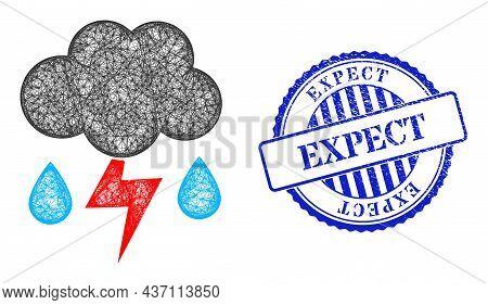 Vector Net Mesh Thunderstorm Rain Model, And Expect Blue Rosette Rubber Seal Print. Crossed Frame Ne