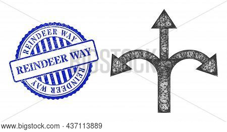Vector Net Triple Bifurcation Arrow Model, And Reindeer Way Blue Rosette Textured Badge. Crossed Car