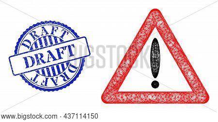 Vector Crossing Mesh Warning Sign Framework, And Draft Blue Rosette Scratched Stamp Seal. Crossed Fr