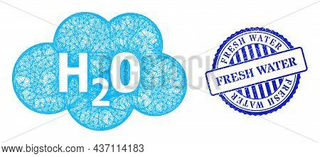 Vector Net Mesh Water Cloud Frame, And Fresh Water Blue Rosette Unclean Stamp Seal. Crossed Frame Ne