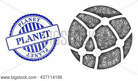 Vector Network Web Sphere Frame, And Planet Blue Rosette Textured Seal. Wire Frame Network Image Des