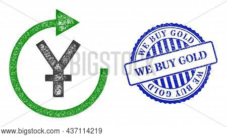 Vector Net Mesh Yen Repay Model, And We Buy Gold Blue Rosette Unclean Stamp Seal. Hatched Carcass Ne