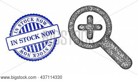 Vector Network Zoom In Frame, And In Stock Now Blue Rosette Scratched Watermark. Crossed Frame Netwo