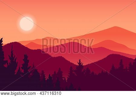 Mountain Landscape And Forest Vector Illustration, Red Silhouette Hill Environment At Sunset, Beauti