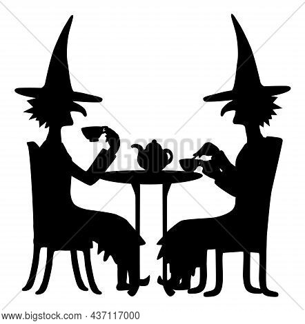 Witches Drinking Tea At Table Peacefully Figure Silhouette Stencil Black, Vector Illustration, Verti