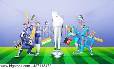 3D Participating Cricket Players Team Of India VS Afghanistan With Silver Winning Trophy On Blue And Green Stripe Background.