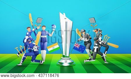 Participating Cricket Team Of India VS New Zealand With Silver Winning Trophy And Tournament Equipments In 3D Style.