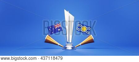 3D Silver Winning Trophy With Participating Teams Flags Of Australia VS West Indies And Golden Vuvuzela On Blue Background.