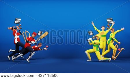 3D Render Participating Cricket Team Of England VS Australia With Tournament Equipments And Copy Space On Blue Background.
