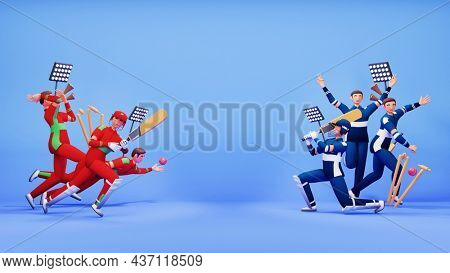 3D Participating Cricket Team Of Oman VS Scotland With Tournament Equipments And Copy Space On Blue Background.