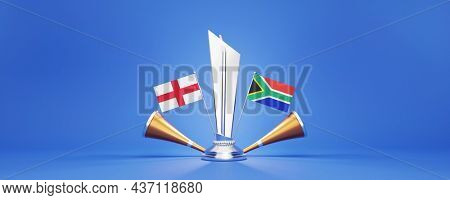 3D Silver Winning Trophy With Participating Countries Flags Of England VS South Africa And Golden Vuvuzela On Blue Background.