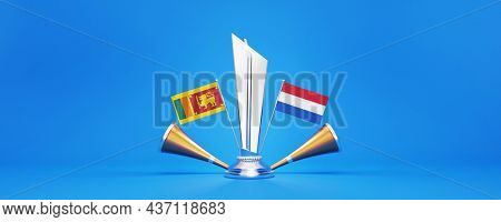 3D Silver Winning Trophy With Participating Countries Flags Of Sri Lanka VS Netherlands And Golden Vuvuzela On Blue Background.