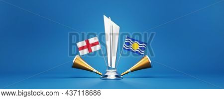 3D Silver Winning Trophy With Participating Teams Flags Of England VS West Indies And Golden Vuvuzela On Blue Background.