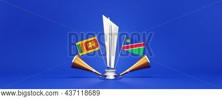 3D Silver Winning Trophy With Participating Countries Flags Of Sri Lanka VS Namibia, Golden Vuvuzela And Copy Space.