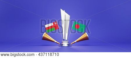 3D Silver Winning Trophy With Participating Team Flags Of Oman VS Bangladesh, Golden Vuvuzela And Copy Space.