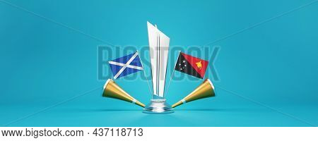 3D Render Silver Winning Trophy With Participating Team Flags Of Scotland VS Papua New Guinea And Golden Vuvuzela On Glossy Blue Background.