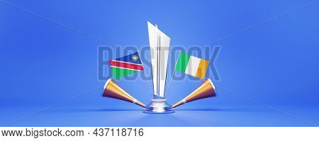 3D Silver Winning Trophy With Participating Countries Flags Of Namibia VS Ireland, Golden Vuvuzela And Copy Space.