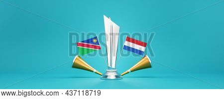 3D Silver Winning Trophy With Participating Countries Flags Of Namibia VS Netherlands, Golden Vuvuzela And Copy Space.