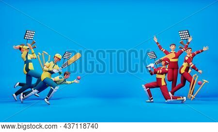 3D Participating Cricket Team Of South Africa VS West Indies With Tournament Equipments And Copy Space On Blue Background.