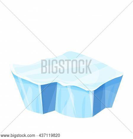 Ice Floe, Frozen Water Piece, Iceberg In Cartoon Style Isolated On White Background. Polar Landscape