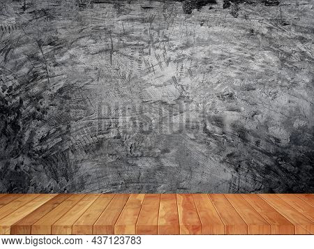 Cement Wall A Cement Floor Of Background Black