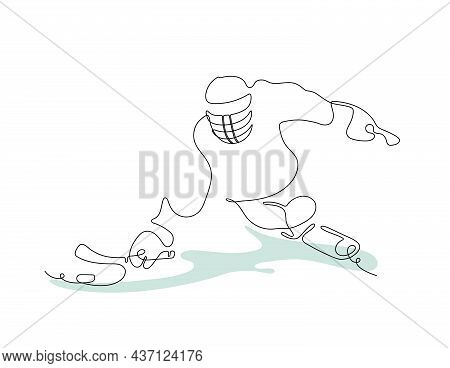 Sledge Hockey.  Winter Sport For People With Disabilities. Continuous Line Drawing Of An Athlete In